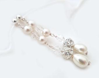 Bridal Earrings, Teardrop Pearl Long Earrings, Pearl Drop Earrings, Ivory Pearl Chandelier Earrings, bridal Jewelry
