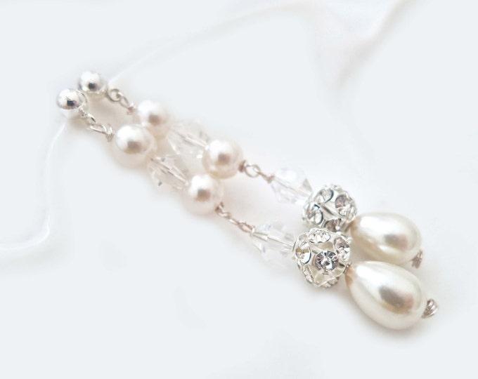 Long Pearl Earrings Bridal Earrings Pearl Wedding Earrings Chandelier Drop Pearl Earrings Ivory Pearl Earrings, Pearl Crystal Rhinestone