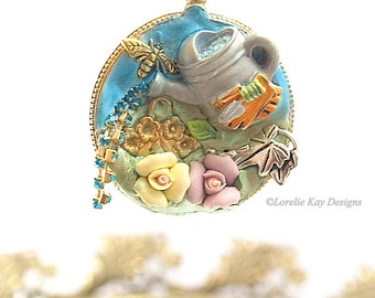 The Gardener Necklace Mixed Media Gardening Theme Pocket Watch Assemblage Pendant
