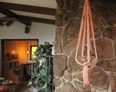 Vintage macrame plant hanger, pastel peach