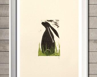 Hare Art print (Lino Cut)