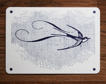Swallow Letterpress Art print