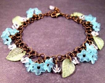 Flower Charm Bracelet, Mystical Garden, Colorful and Brass Beaded Bracelet, FREE Shipping U.S.