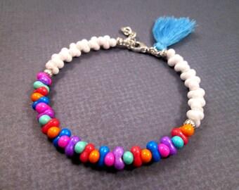 Tassel Bracelet, Silver Charm Bracelet, Rainbow Glass Beaded, Bangle Bracelet, FREE Shipping U.S.