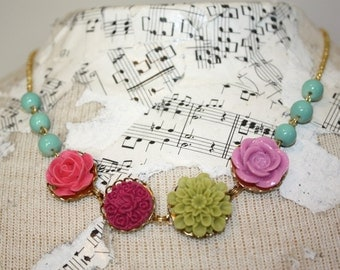 Bright necklace, Flower and bead necklace,aqua and red necklace, aqua, lilac, olive green, pink resin flower necklace