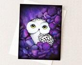 Snowy Owl in Purple Flowers - Watercolor Bird - Blank All Occiasion Card