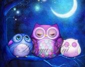 Nursery Art Owls - Woodland Watercolor Wall Art - Goodnight Moon - FREE SHIPPING  - 8x10, 11x14, 12x16 + Prints