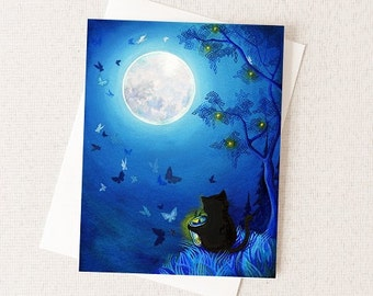 Black Cat Greeting Card - Blue Butterflies and Fairy Lanterns - Firefly Lights - Firefly Paper Card