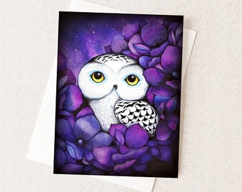 Snowy Owl in Purple Flowers - Watercolor Bird - Blank All Occiasion Card