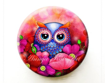 Owl in Red Poppy Field - Trendy Floral Purse Accessory - Collectible Art Mirror