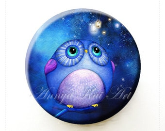 Gift for Owl Lovers Bird Lovers - Funny & Cute Whimsical Owl Present - Purse/Pocket Mirror