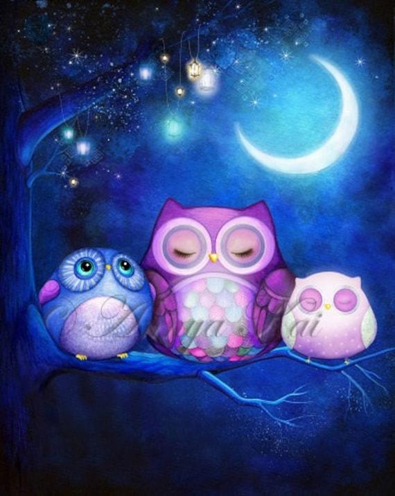 Nursery decor woodland nursery wall art owl decor for Night owl paint color