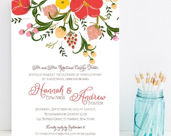 10 Wedding Rehearsal Dinner Invitations - Flower, Floral Rehearsal Invitation - Wedding Rehersal Invitation