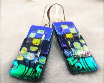 Dichroic fused earrings, Dichroic earrings, dangle and drop, handmade in USA, women's jewelry handmade, fusion, hostess gift, boho, ooak