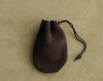 Leather Drawstring Bag, Suede Leather Pouch, Suede Drawstring Pouch
