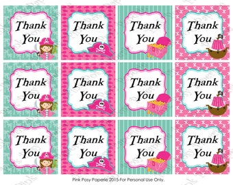 Printable Pirate Girl Thank You Tags - Instant Download