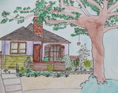 Custom Building/ Home Illustration Original Watercolor Painting