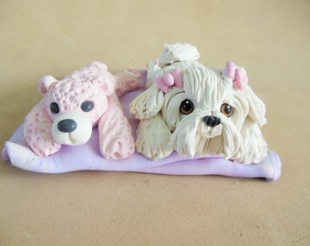 OOAK Maltese Terrier dog and Teddy Bear sharing a blanket hand sculpted by Sally's Bits of Clay