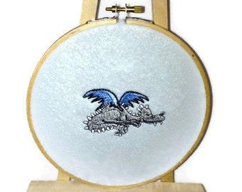 "Baby's Room Wall Hanging Embroidery Hoop Flying DRAGON Blue 6"" Light Blue Wall Hanging Embroidered Hoop Rubber Duck Blue 6"""