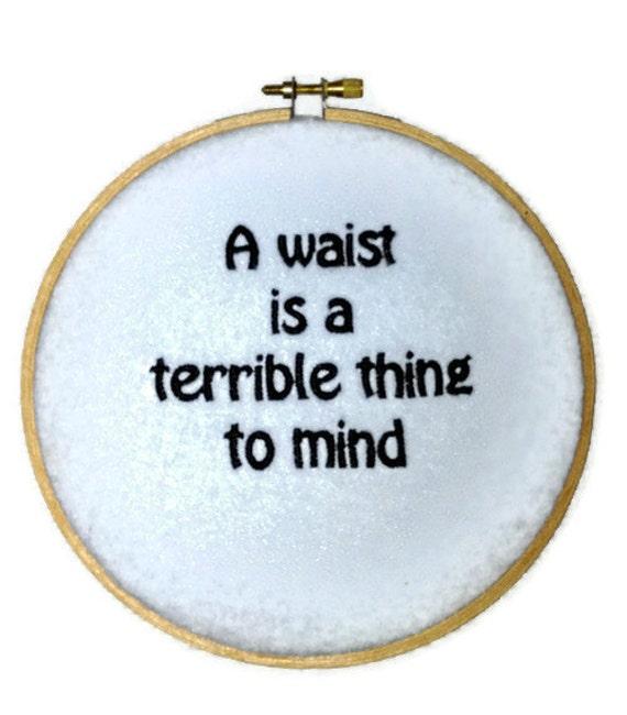"50% off SALE Waist not Light Blue Wall Hanging Embroidery Hoop 6"""