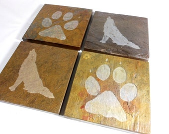 Stone Coasters: Wolf Spirit Coasters - 4 Carved Slate Coasters - Wolf Coaster, Wolf Track Coasters, Wolf Lover Gift, Howling Wolf Decor
