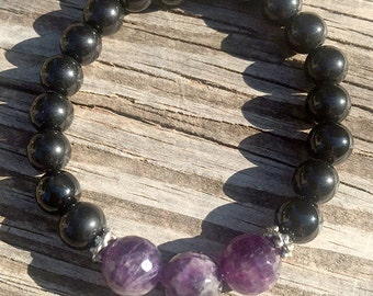 Amethyst Bracelet with Black Beads