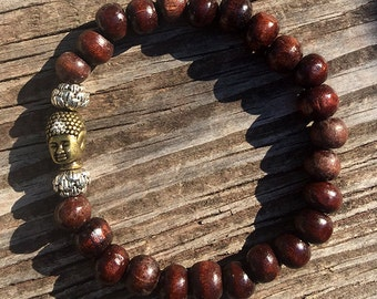Wooden Wrist Mala with Buddha