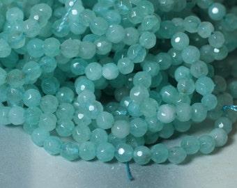 Candy jade faceted round 4mm aquamarine 15-inch strand (item ID CJ4mRB4)