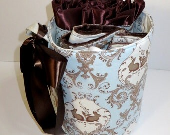 READY TO SHIP - Bunny Hill Baby Gift Basket Set in Blue and Chocolate