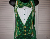 Leprechaun costume ST PATTYS DAY shamrock cut couture backless shredded t shirt tank top one size fits most
