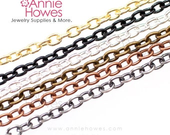 Link Chains with Lobster Clasp. 30 Inch Length. Available in Silver, Vintage Silver, Vintage Copper, and Gold. 10 Chains.