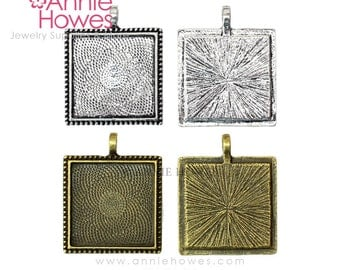 "1"" Square Bezel Pendant with Beaded Edge Tray for Photo Jewelry Making. 25mm or 1 inch  25 Pack."