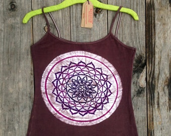 Batik spaghetti strap top Mandala flower womens clothing, Eco friendly Yoga tops & tees hand dyed vintage black yoga clothing hand painted