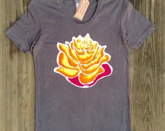 Batik Lotus women t-shirt hand drawn hand painted & hand dyed gray size XS, S, M, L, XL, XXL