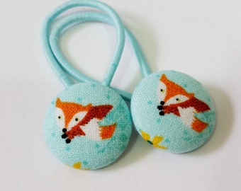 Ponytail holders - Little Fox on Aqua - fabric covered button hair ties