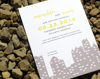 Atlanta Skyline Save the Date Card - Custom - Save the Date Card - Boston, Seattle,