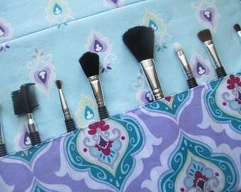 Makeup brush roll, makeup brush holder, Crochet hook organizer , paintbrush roll, Floral