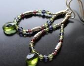 Colorful Gemstone Hoop Earrings, Sterling Earwires, Peridot Quartz Teardrop, Peridot, Iolite, Garnet Rounds and Rondelles, August Birthday