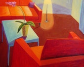 Red Sofa and Lamp Night Interior with Lamp and Orchid Original Oil on Canvas