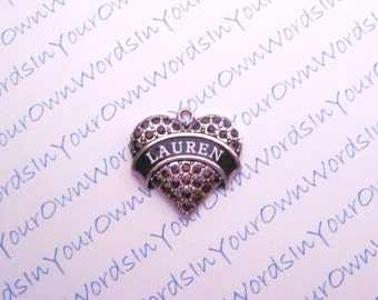 Personalized Girls Name Pendant Crystal Antique Silver Custom Heart Charm