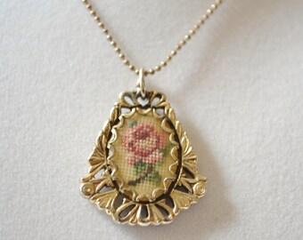 Embroidery Pendant, Vintage Necklace, Petit Point Necklace, Goldtone Necklace, Needlework Necklace, Pendant, Gold Necklace, Rose Necklace