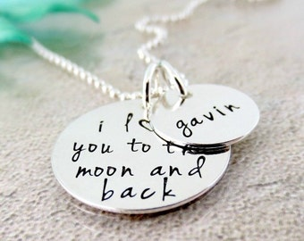 I Love You To The Moon And Back Necklace - Personalized Necklace - Silver Moon Necklace - Hand Stamped Jewelry - Gift For Mom or Grandma