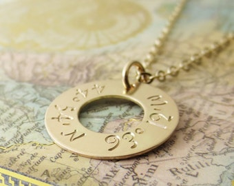 Gold Latitude Longitude Necklace - Custom GPS Coordinate Personalized Jewelry - Special Location Necklace - Hand Stamped Gold Fill Washer