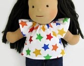 14 to 15 inch Waldorf colorful stars doll top and dark blue denim pants