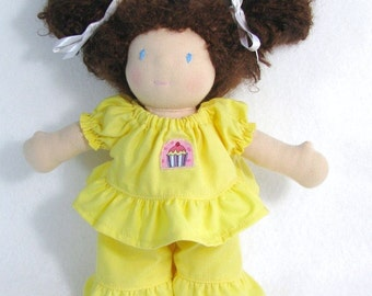Yellow doll clothes, birthday doll outfit, upcycled cupcake outfit for your 10 inch doll, 10 inch toy clothing ruffle pants