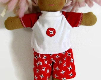 Pirate shirt with skull and crossbones patch and shorts for 10 to 12 in Waldorf doll, doll tee shirt and shorts, pirate Waldorf doll clothes