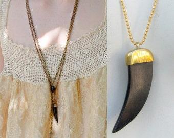Vintage boho Necklace. Carved Black buffalo horn pendant w petite gold ball chain. Festival fashion. tribal jewelry. Bulk Lot wholesale  t58
