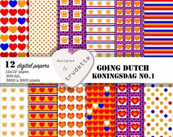 Digital Paper - Going Dutch - Koningsdag - Kingsday - The Netherlands - 12 papers - digital download
