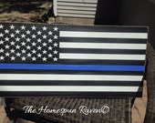XLRG size police thin blue line flag handpainted wood sign law enforcement Leo Huge