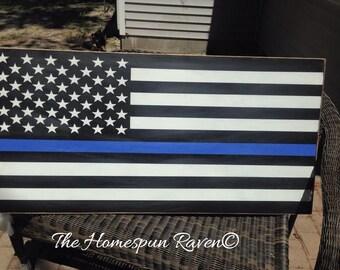 XLRG size police thin blue line flag handpainted wood sign law enforcement Leo Huge